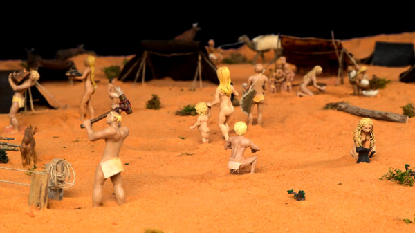 Ancient Israel camp depicted with clay figurines